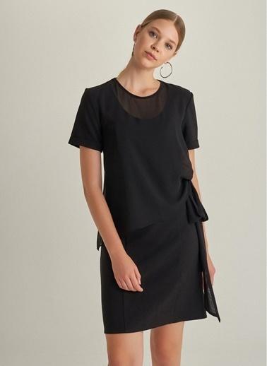 NGSTYLE Şifon Detaylı Elbise Siyah
